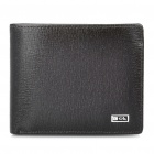 Deckese Leather Horizontal Style 2-Fold Wallet Purse - Dark Brown