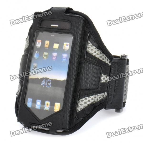 Sports Gym Arm Band Nylon Mesh Case for Iphone 4 - Black + Grey