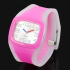 Fashion Sporty Silicone Quartz Wrist Watch - Pink + Transparent (1 x 377)