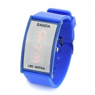 Fashion Silicone Band Red LED Water Resistant Wrist Watch - Deep Blue (1 x CR1620)