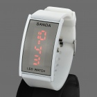 Fashion Silicone Band Red LED Water Resistant Wrist Watch - White (1 x CR1620)