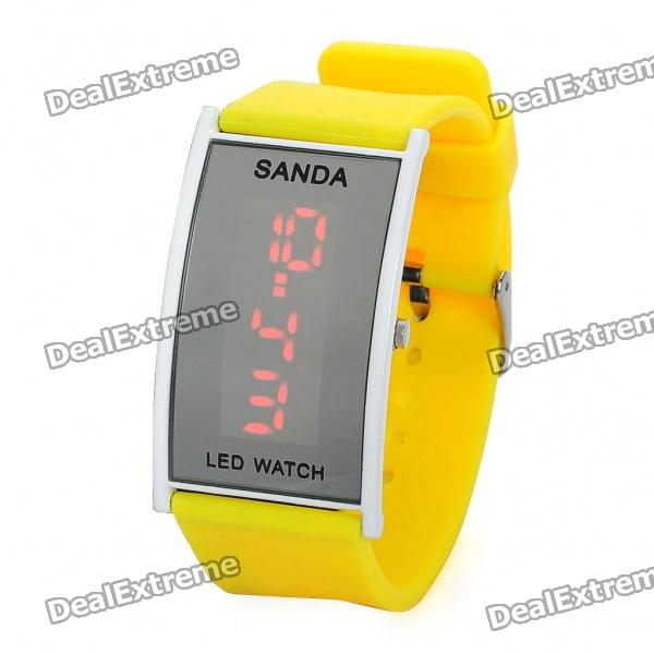 Fashion Silicone Band Red LED Water Resistant Wrist Watch - Yellow (1 x CR1620)