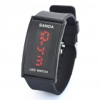 Fashion Silicone Band Red LED Water Resistant Wrist Watch - Black (1 x CR1620)