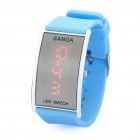 Fashion Silicone Band Red LED Water Resistant Wrist Watch - Sky Blue (1 x CR1620)
