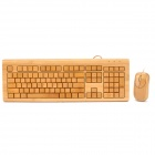 Elegant 108-Key Natural Full Bamboo Wired USB Keyboard with USB Optical Mouse Combo