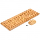 Elegant 108-Key Natural Full Bamboo Wireless Keyboard with Optical Mouse Combo (2 x AAA / 2 x AAA)