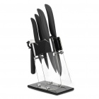 Kitchen Ceramic Knife + Peeler with Holder Set - Black + White (Set of 5)