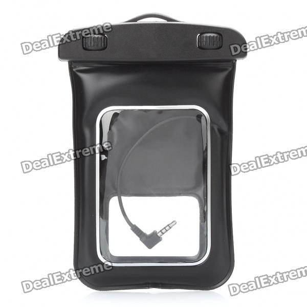 Universal Waterproof Bag Case w/ 3.5mm Earphone & Strap for Cell Phone - Black universal waterproof bag protective mobile phone bag w arm band strap orange black