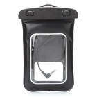 Universal Waterproof Bag Case w/ 3.5mm Earphone & Strap for Cell Phone - Black
