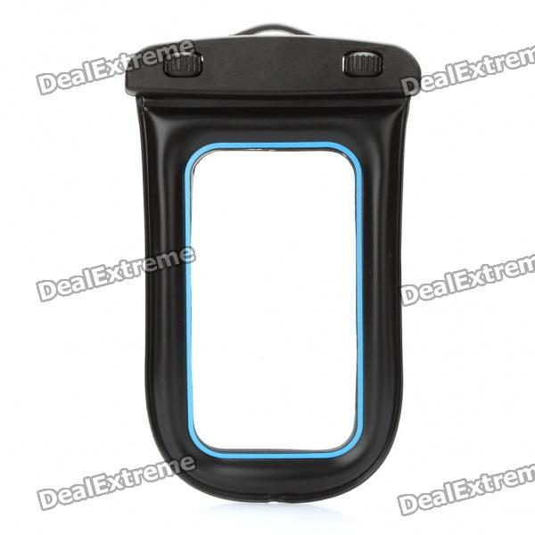 Universal Waterproof Bag Case w/ Strap for Cell Phone / MP3 / MP4 - Black + Blue universal waterproof bag protective mobile phone bag w arm band strap orange black