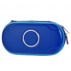 Protective PU Leather Carrying Pouch with Strap & Cleaning Cloth for PS Vita - Deep Blue