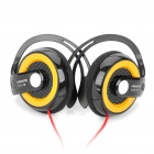 Stylish Ear-Hook Headset Headphone - Yellow + Black (3.5mm Jack)