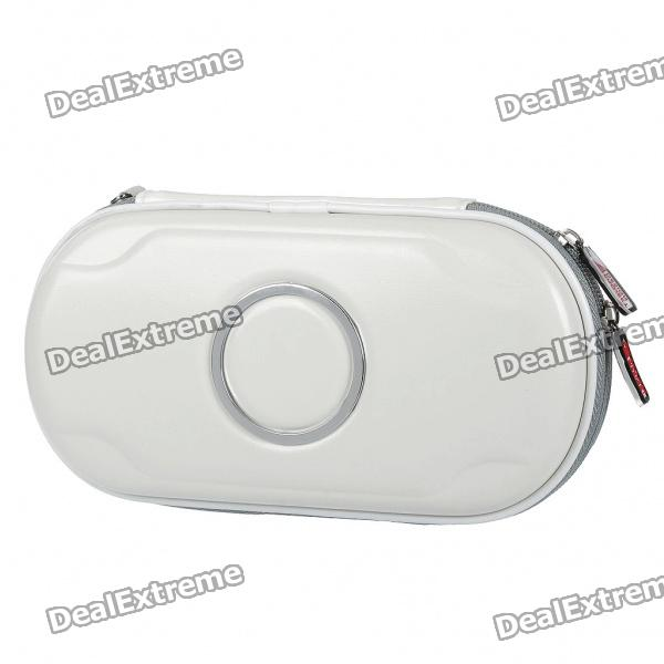 Protective PU Leather Carrying Pouch with Strap & Cleaning Cloth for PS Vita - White