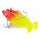 Lifelike Fish Style Soft PVC Fishing Bait with Hooks - Red + Yellow( 2-Piece Pack)