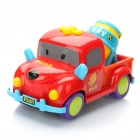 Cute Winnie The Pooh Style Mixer Truck Toy with Music & Yellow Light - Red + Yellow (3 x AA)