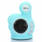 Fashion Thumb Style MP3 Player Speaker w/ FM / TF / USB - Blue