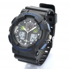 Diving Sports Dual Time Display Wrist Watch w/ Alarm Clock / Stopwatch - Black + Blue (1 x CR2016)