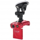 "1.0MP Wide Angle Car DVR Camcorder w/ TF / HDMI / 2-LED - Red (2.0"" TFT LCD)"
