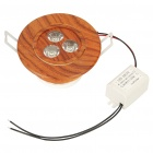 3W 7000K 270-Lumen 3-LED White Light Ceiling Lamp w/ Driver - Brown (AC 85~260V)