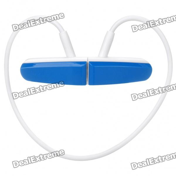 Sports USB Rechargeable MP3 Player Headset - Blue + White (2GB)