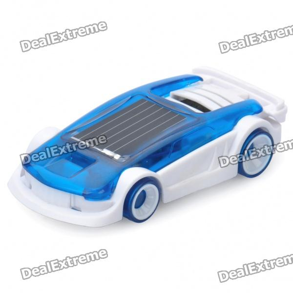 Intellectual Mini Solar/Salt Water Powered Car Toy for Kid - White + Blue