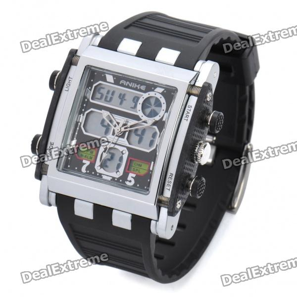 Sports Waterproof Diving Swimming Wrist Watch - Black + Silver (1 x CR2025)