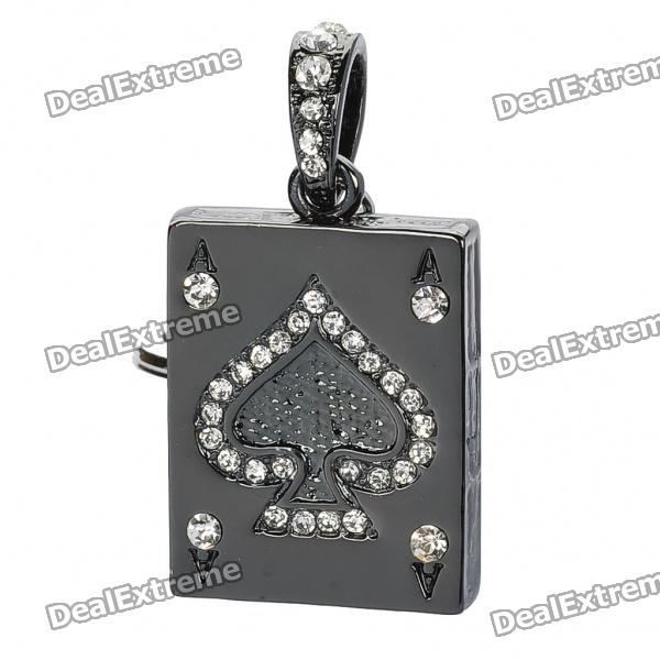Playing Card Ace of Spades Style USB 2.0 Flash Drive Keychain - Black (8GB)