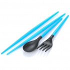 Travel Portable Detachable Plastic Chopsticks + Spoon + Fork Set with Storage Case - Random Color