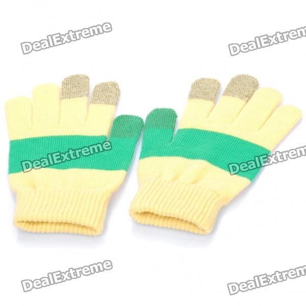 Universal Touch Screen Winter Gloves for Iphone / Ipad / Ipod (Yellow + Green)