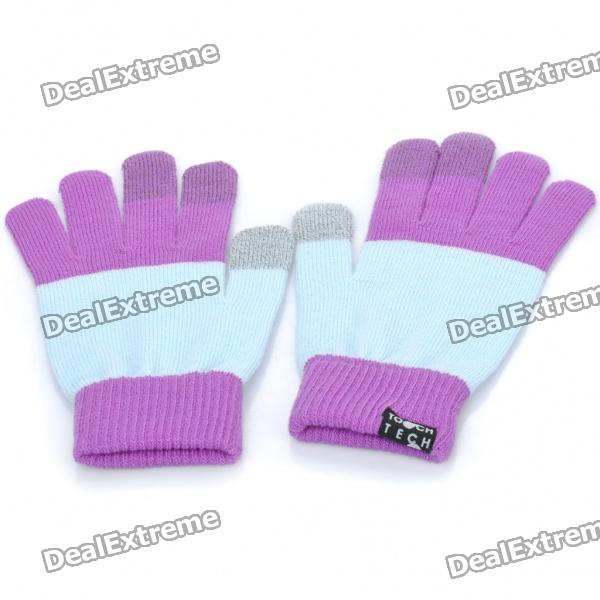 Universal Touch Screen Winter Gloves for Iphone / Ipad / Ipod (Purple + Light Blue)