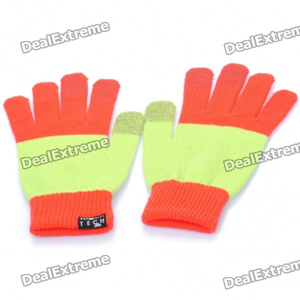 цены  Universal Touch Screen Winter Gloves for Iphone / Ipad / Ipod (Red + Light Green)