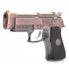 Cool Gun Pistol Style Zinc Alloy Windproof Butane Jet Torch Lighter with Red Laser - Copper