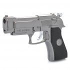 Cool Gun Pistol Style Zinc Alloy Windproof Butane Jet Torch Lighter w/ Red Laser - Dark Silver Grey