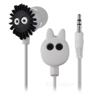 Cute Cartoon Totoro Style In-ear Earphone - White + Black + Grey