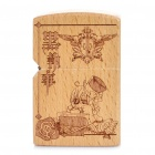 Black Butler Image Double Wooden Carved Anime Oil lighter - Light Brown