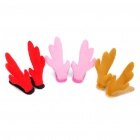 Korean Stereo Deer Horn Style Hair Pin - Pink + Red + Yellow(3-Pair Set)