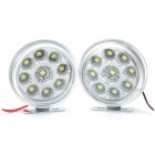 Water Resistant 2.7W 3500K 112LM 9-LED Warm White Light Car Tagfahrlicht (DC 12V / Paar)