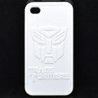 Transformer Autobots Pattern Protective PVC Back Case for iPhone 4 / 4S - White
