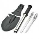 4-in-1 Multifunction Outdoor Camping Garden Shovel Spade Tools - Black + Silver