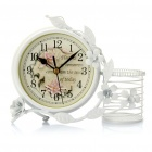 "4.75"" Iron Art Desktop Clock with Pen Container - White (1 x AA)"