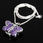 Exquisite Butterfly Pattern Flip Cover Pocket Watch with Silver Chain - Purple + Silver (1 x 377A)