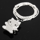 Exquisite Hallo Kitty Pattern Flip Cover Pocket Watch mit Silber Kette - Silber (1 x 377)