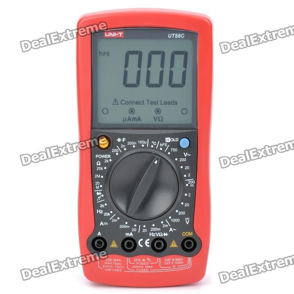 UNI-T UT58C 3.0 LCD Digital Multimeter - Red + Black (1 x 9V 6F22 Battery) pro skit mt 1210 2 0 lcd digital multimeter blue deep grey 1 x 9v battery