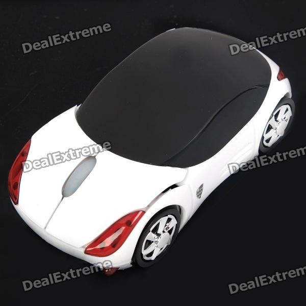 2.4GHz Wireless Optical Mouse with USB Receiver - White + Black (2 x AAA)