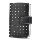 Protective PU Leather Wallet Case for iPhone 3G / 4 / 4S / Samsung i9000 / i9100 - Black + White