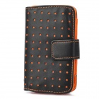 Protective PU Leather Wallet Case for iPhone 3G / 4 / 4S / Samsung i9000 / i9100 - Black + Orange