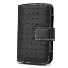 Protective PU Leather Wallet Case for iPhone 3G / 4 / 4S - Black