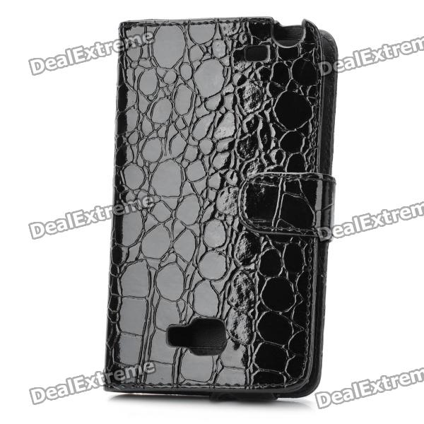 Protective Artificial Crocodile Leather Wallet Case for Samsung i9220 - Black protect artificial leather wallet case w plastic holder for samsung galaxy note i9220 black