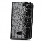 Protective Artificial Crocodile Leather Wallet Case for Samsung i9220 - Black