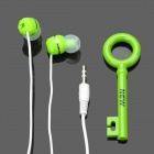 Stylish In-Ear Stereo Earphone w/ Key Shaped Cord Organizer - Green (3.5mm-Plug / 100cm-Cable)